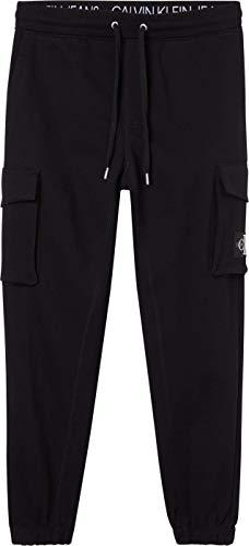 Calvin Klein Jeans Cargo Badge Fleece Pant Tuta da Ginnastica, CK Nero, S Uomo