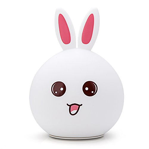GoLine Bunny LED Children Night Light, Cute Rabbit Multicolor Silicone Soft Baby...
