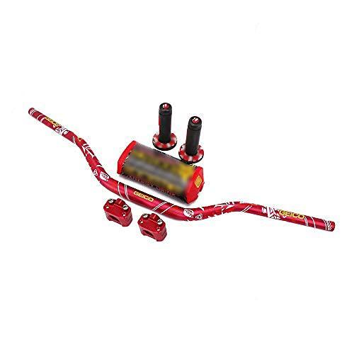"""AnXin - Manubrio da 28 mm (1 1/8"""") + morsetto di montaggio + cuscinetto + manopole, per moto fuoristrada Honda, Yamaha, Kawasaki, Suzuki, per Pit bike e Dirt, rosso"""