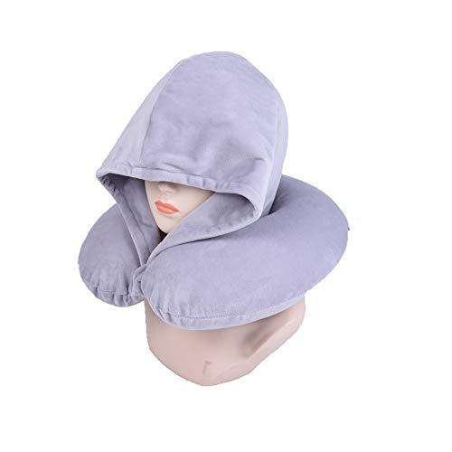 Bookishbunny Fashion Look U Shaped Memory Foam Neck Head Support Travel Pillow with Velvet Hoodie - Best Comfort Pain Relief for Long Trip, Air Bus Traveling, Car Driving (Solid Grey)