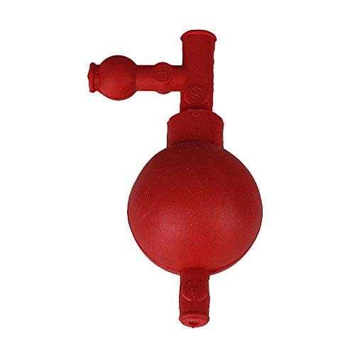 BQLZR 72x52x126mm Rojo de Qu¨ªmica Labware llenado de bolas Caucho Pipeta Bulbo de llenado con tres v¨¢lvulas