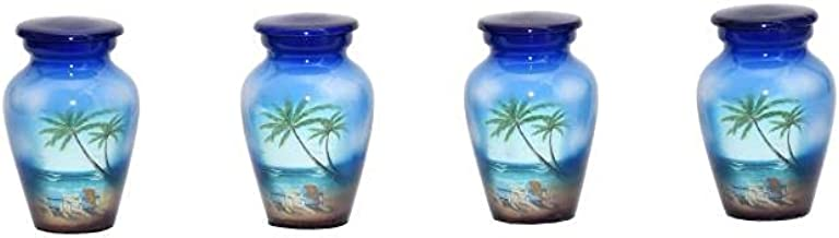 World Bazaar Beach Keepsake Urns - Set of 4 - Urn for Human Ashes with Velvet Box