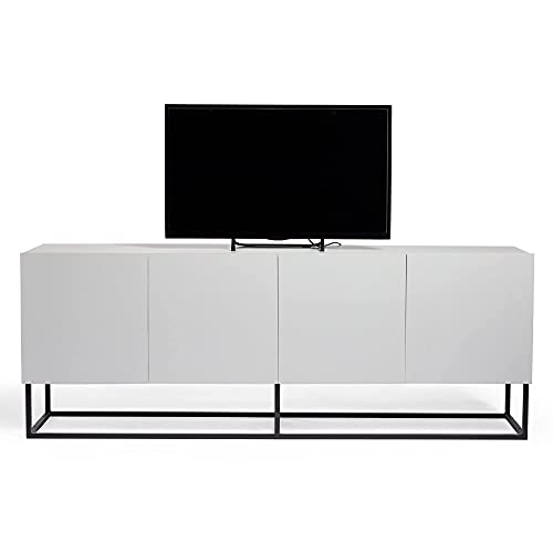VonHaus Grey TV Unit - Large TV Stand Cabinet with 4 Doors & Black Metal Frame, Modern TV Stand Unit with Storage for Living Room, Media Unit, Entertainment Unit Sideboard