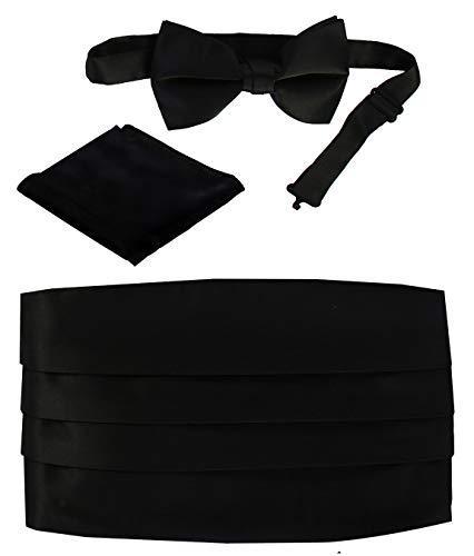 Gioberti Kids/Boys' Adjustable Satin Cummerbund Set With Formal Bow Tie and Pocket Square, Black