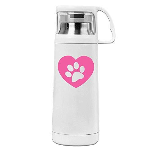 Bestqe Vakuumisolierte Trinkflasche,Wasserflasche, Pink Heart Cute Dog Paw 11.8oz Travel Vacuum Insulated Water Bottle...