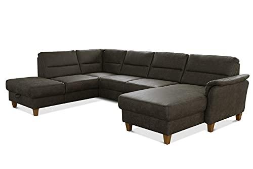 CAVADORE U-Form-Sofa Palera / Wohnlandschaft mit Schlaffunktion, Stauraum und Federkern / 314 x 89 x 212 / Mikrofaser in Lederoptik, Oliv