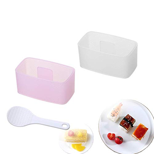 2 Pieces Musubi Maker Press Non Stick Sushi Making Kit Onigiri Mold with Small Rice Paddle Spam Musubi Mold for Beginner Pink and White
