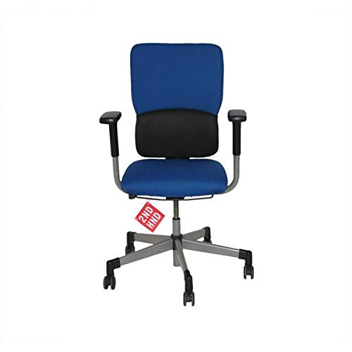 Steelcase Lets B Hi Back Task Chair with Arms Recovered Blue Fabric