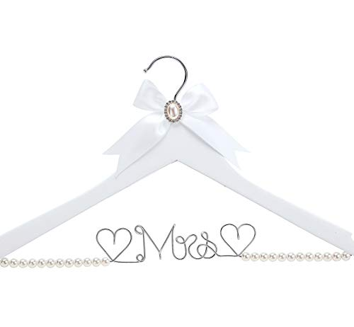 White Solid Wood Bridal Dress Hanger with Lady Wire Lettering for Bridal Wedding Party Gift Pearl Silver Thread and White Hanger