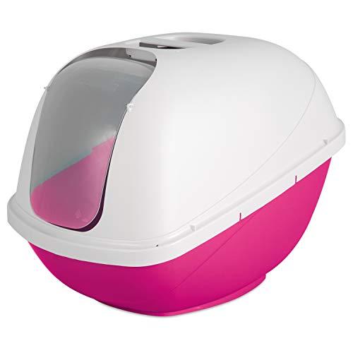 Petmate Basic Hooded Cat Litter Pan, Jumbo, Pink and White