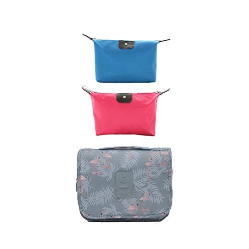 Flamingo - Bolsa de cosméticos para colgar en viajes, incluye dos bolsas de cosméticos
