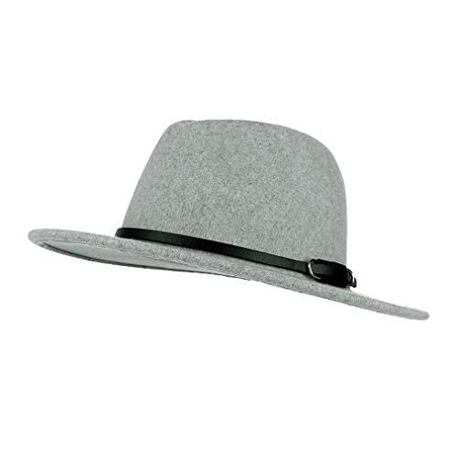 GEMVIE Sombrero de Vestir Fieltro de Lana para Hombre Mujer Vintage Gorro Fedora de ala Ancha con Banda/Circunferencia 56-58cm