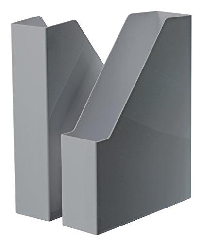 HAN i-Line 16501-191 - Archivador de pie (2 unidades), diseño elegante y moderno, para cuadernos, revistas y carpetas hasta A4/C4, color gris oscuro