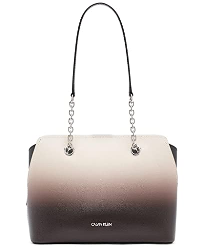 Calvin Klein Hailey Micro Pebble Triple Compartment Chain Satchel, Black/Grey