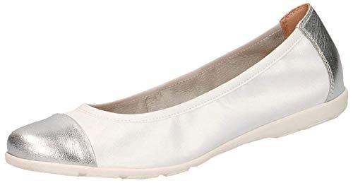 CAPRICE Damen Ballerinas 22152-24, Frauen Klassische Ballerinas, sommerschuh Slip-on freizeitschuh sportlich weibliche,White/Silver,40 EU / 6.5 UK