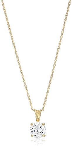"""Amazon Essentials Yellow Gold Plated Sterling Silver Cubic Zirconia Round Cut Solitaire Pendant Necklace (8mm), 18"""""""