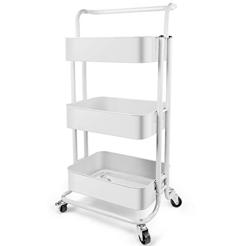 Homchwell 3 Tier Metal Utility Rolling Cart with Lockable Wheels, Multifunction Movable Storage Shelves Organizer Cart with Handle and Mesh Basket for Kitchen, Coffee Bar,Bathroom, Office