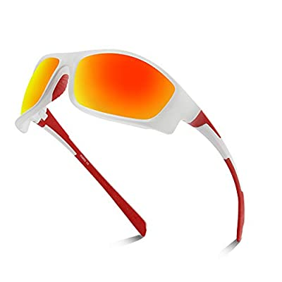 Xiyalai Polarized Sports Sunglasses for Men Women Cycling Running Driving Fishing Golf Baseball TR90 Frame (Bright white/red)