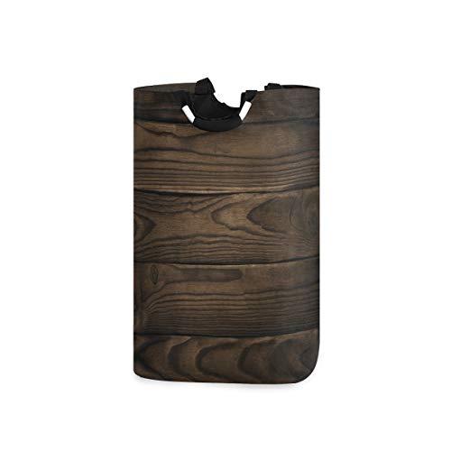 ZOMOY Multifunktionale Faltbarer Schmutzige Kleidung Wäschekorb,Schokoladen Vintage Hartholzdruck,Household Wäschebox Spielzeug Organizer Aufbewahrungsbeutel mit Henkel