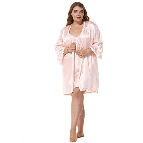 Juli S Song Plus Size Mode Frauen Robe Set Kunstseide Frühling Sexy Spitze Nachthemden Frauen Nachtwäsche Kleid Frau Pyjama Bademantel Pink XL