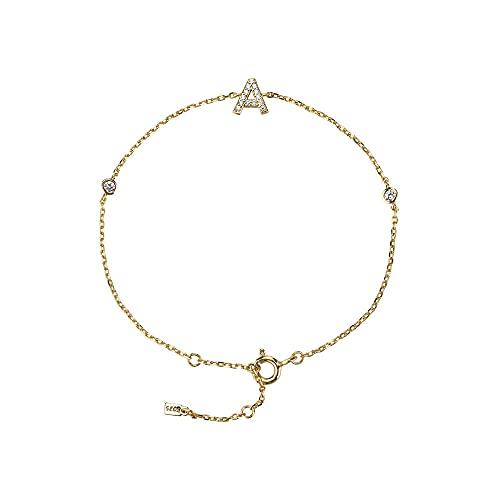 925 plata inicial 26 letras alfabeto monograma pulsera de oro con nombre cristal circón joyería de moda-AGOLD_18cm