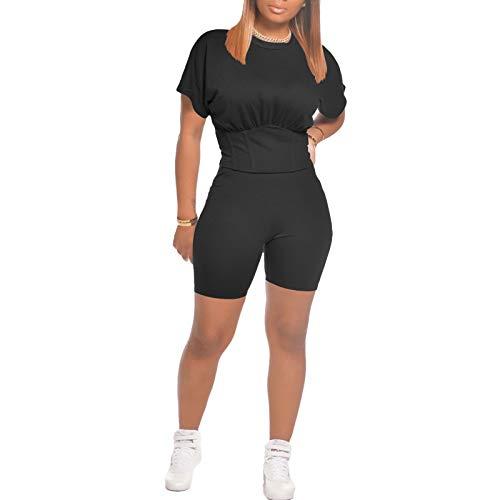 Ropa deportiva de dos piezas para mujer, manga corta, cuello redondo, color sólido, cintura elástica, pantalones cortos para mujer