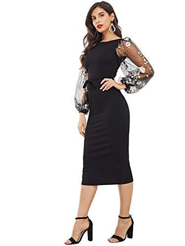 SheIn Women's Elegant Mesh Contrast Bishop Sleeve Bodycon Pencil Dress Medium Black