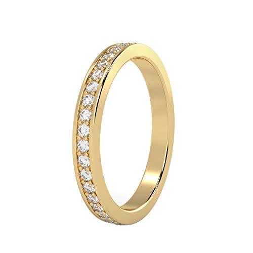 UK Hallmarked 18k Yellow Gold 0.40 Carat Full Diamond Eternity Ring, Size - Q