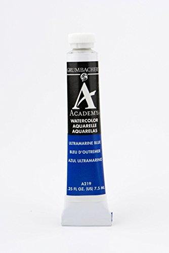 Grumbacher Academy Watercolor Paint, 7.5ml/0.25 Ounce, Ultramarine Blue (A219)
