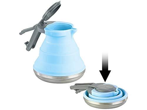Rosenstein & Söhne Kochgeschirr: Faltbarer Silikon-Camping-Wasserkessel mit Edelstahlboden, 1,5 Liter (Camping Geschirr)