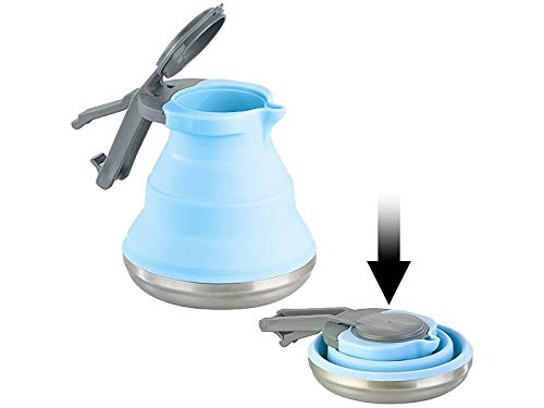 Rosenstein & Söhne Kochgeschirr: Faltbarer Silikon-Camping-Wasserkessel mit Edelstahlboden, 1,5 Liter (Faltkessel)