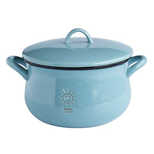 Alqn 6 Zoll binaurale Suppenschüssel mit Deckel Niedliche blaue Keramik Instant Nudelschale Obstschale Suppentopf Kindergeschirr