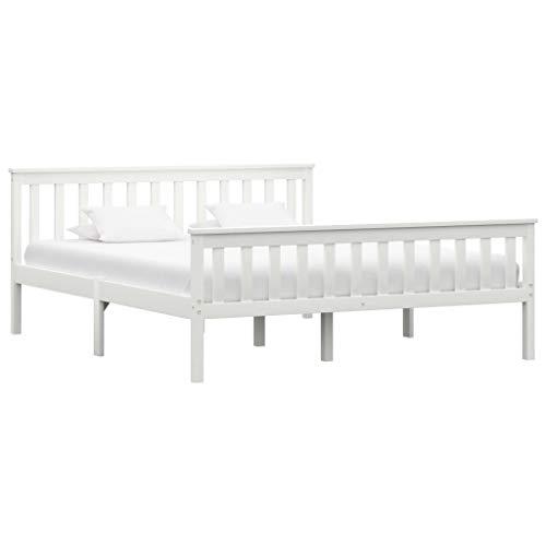 vidaXL Estructura de Cama Matrimonio Madera Maciza de Pino Doble Blanca 160x200 cm Somier Muebles de Dormitorio Habitación