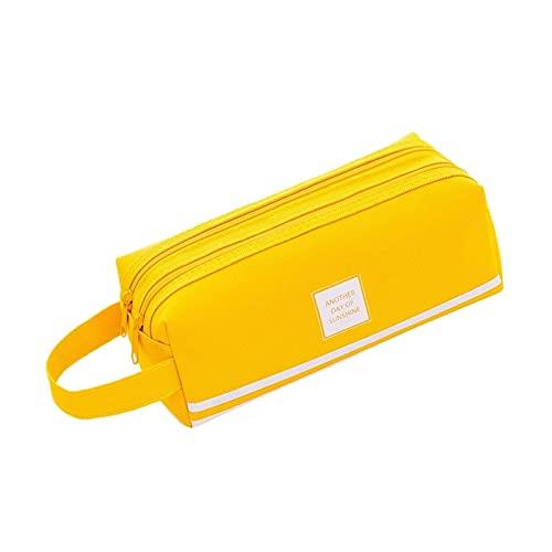 MRDUEWS Caja de lápices, bolsa grande de la caja de lápices, soporte portátil lienzo papelería bolsa de maquillaje, con mango de doble cremallera para estudiantes de adolescentes para estudiantes rega