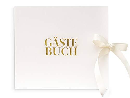 Libro de visitas de piel de diseño elegante y moderno blanco, lámina dorada de alta calidad, 84 páginas vacías en blanco, lazo como accesorio, boda, bautizo, fiesta, libro de boda