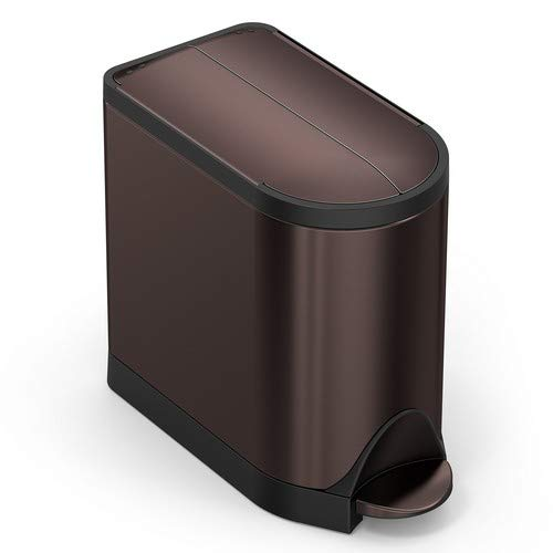 Delicieux Simplehuman 10 Liter / 2.6 Gallon Butterfly Lid Bathroom Step Trash Can,  Dark Bronze Stainless