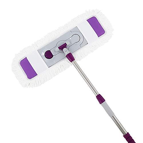 Dry & Wet Mop, 65 cm, starterset voor het reinigen van hardhouten vloeren, telescoopgreep, platte mop, 360 graden rotatie Purple with 1 cloths