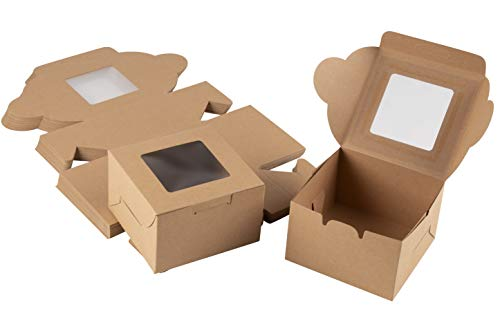 Cake Box – 50 Pack Disposable Pastry Box, Kraft Paper Bakery Box with Display Window for Mini Cake, Cupcake, Cookie, Dessert, Donuts, Pastry - 4 x 4 x 2.3 Inches, Brown