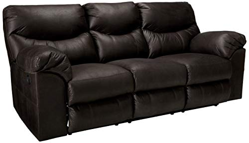 Signature Design by Ashley - Boxberg Contemporary Faux Leather Reclining Sofa - Pull Tab Reclining, Dark Brown