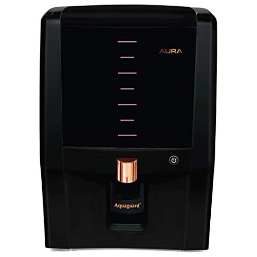Aquaguard Aura 7L water purifier UV e-boiling+Ultra Filtration with Active Copper,Mineral Guard Technology,6 stages of purification (Black & Copper)