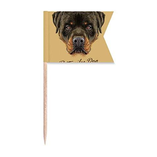 Beauty Gift Schwarzwüchsige Rottweiler H& Tier Markierung für die Kennzeichnung von Zahnstocher-Flaggen