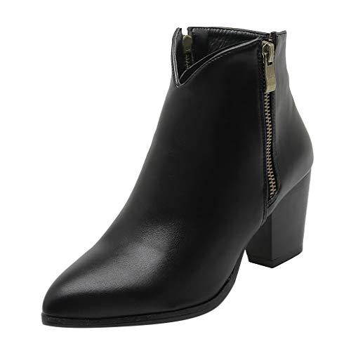 Frauen Chelsea Stiefeletten mit Niedrigem Mittelblockabsatz Cowboy Booties Damen Round Toe Elastic Gusset Western Stiefel(36 EU,Schwarz)