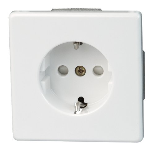 Kopp 112702081 Schutzkontakt-Steckdose mit Berührungsschutz, 250 V, arktis-weiß, mit erhöhtem