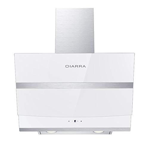 CIARRA CBCW6736N Dunstabzugshaube 60cm 3 Stufen Abluft Umluft Max Abluftleistung 750 m3/h,Edelstahl Weiß Glas Dunstabzugshaube,Kompatibler CBCF003 Filter