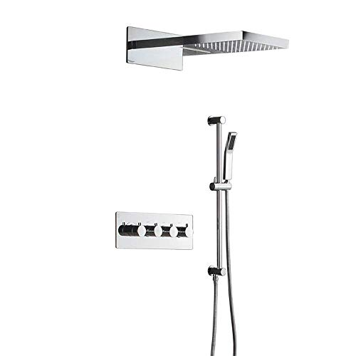 HONYGE LXGANG Duchas Set oculto termostático ducha de lluvia conjunto tres funciones en la pared volando lluvia superior spray cobre ducha práctica