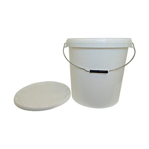 OIPPS Packung mit 1 x 30 Liter Eimern aus weißem Kunststoff mit Deckel