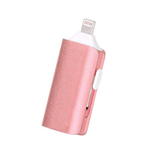HXiaDyG Memorias USB Lithtning USB 3.0 3-en-1 del Teléfono Móvil Flash Drive De Disco U For La Tableta Y Ordenador (Color : Pink, Size : 128G)