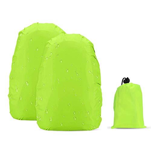 AGPTEK 2 Stück Wasserdichter Regenschutz Rucksack Cover Regenhüllen Regenabdeckung für Camping Wandern, Grün, M