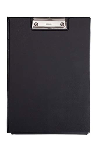 Maul Schreibmappe mit Folienüberzug und Durchschreibschutz, DIN A4 hoch, Innenfach, 8 mm Klemmweite, Schwarz