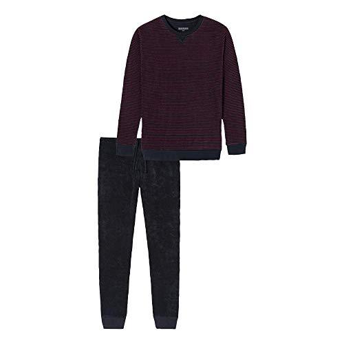 Schiesser Herren Schlafanzug lang Pyjamaset, dunkelblau, 52